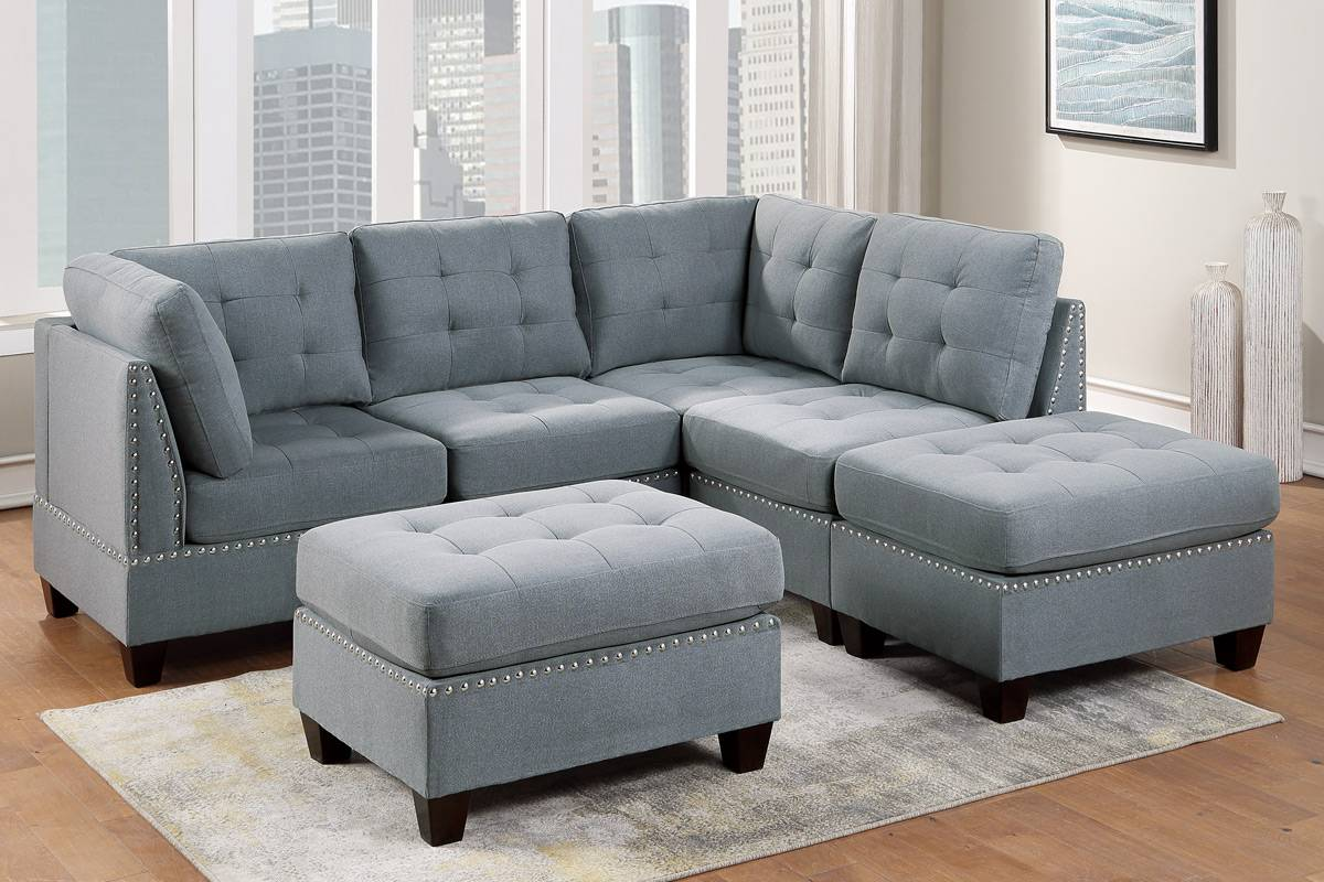 Poundex F902 6 pc Latitude run mckenny II grey linen like fabric tufted modular sectional sofa set