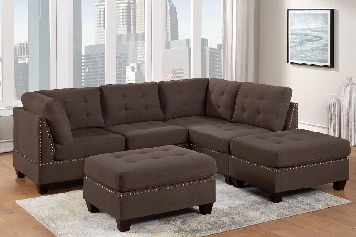 Poundex F904 6 pc Latitude run mckenny II black coffee linen like fabric tufted modular sectional sofa set