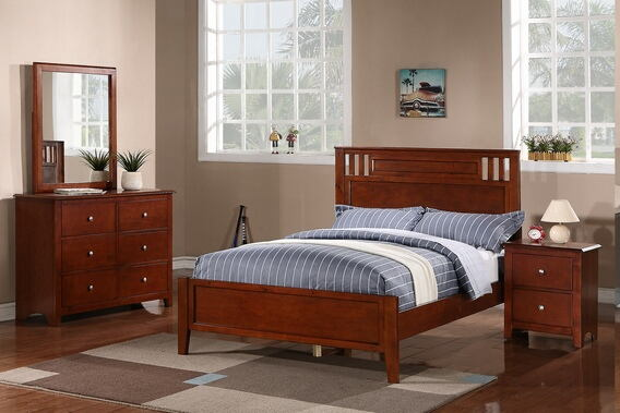 4 pc. contemporary style medium oak wood finish full size bedroom set
