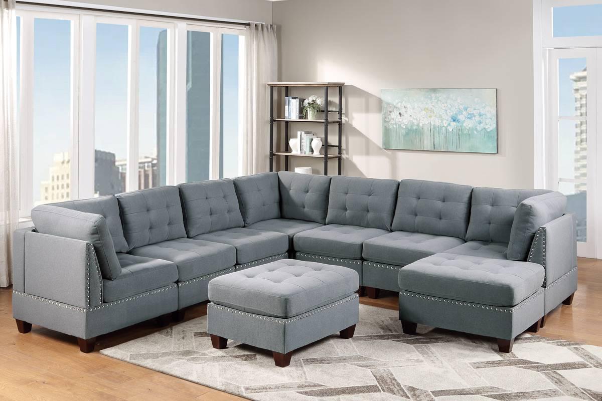 Poundex F905 9 pc Latitude run mckenny II gray linen like fabric tufted modular sectional sofa