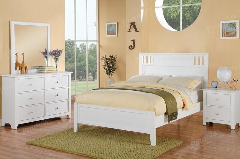 Poundex F9123 4 pc white finish wood panel bed full size bedroom set