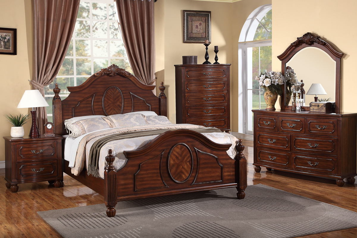 5 pc beatrix collection cherry finish wood queen intricately carved headboard and footboard bed set