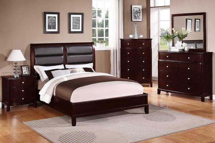 Poundex F9175 5 pc manhattan ii medium cherry finish wood queen padded headboard bed set