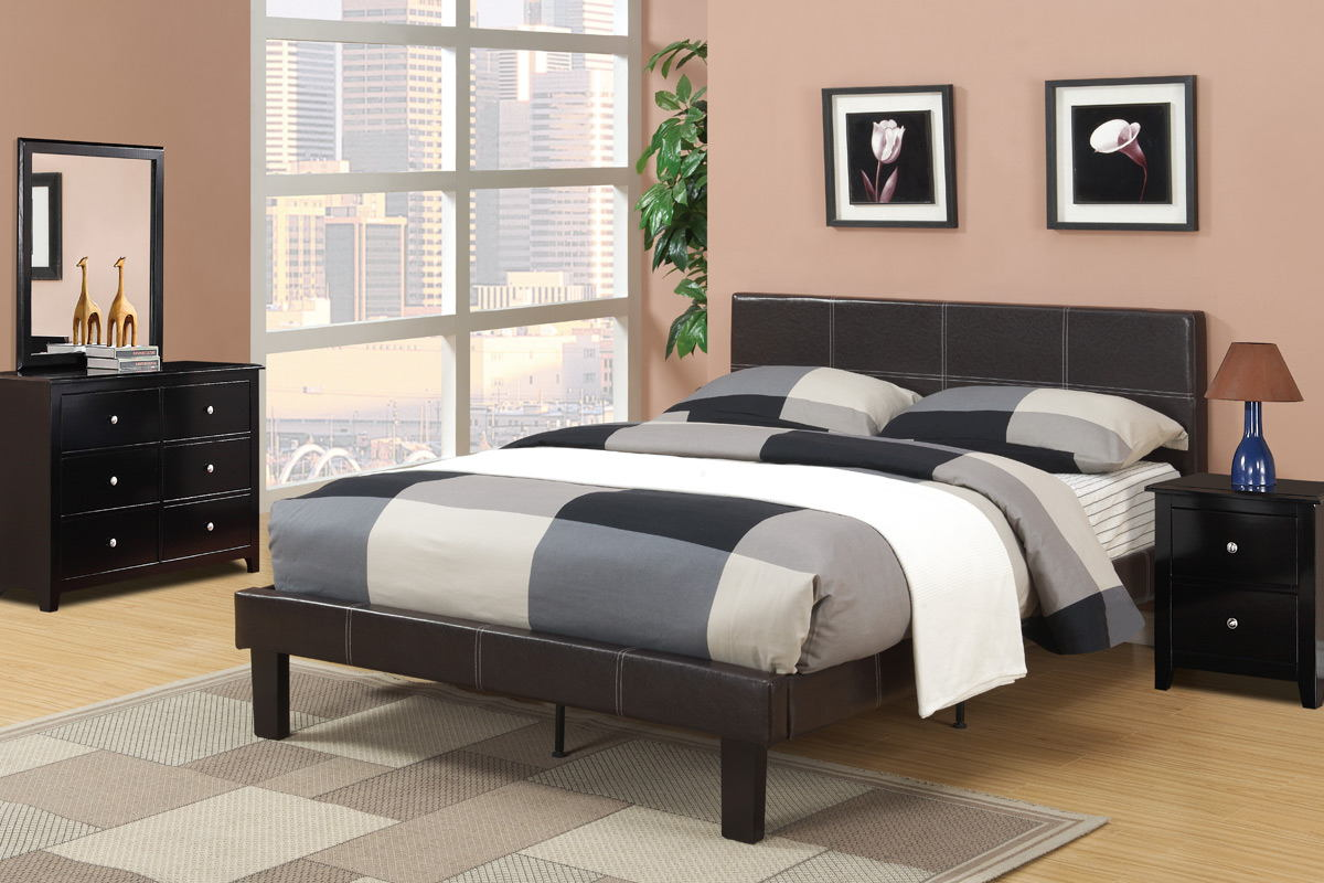 Espresso faux leather padded full size bed frame with 13 slats and rails and footboard