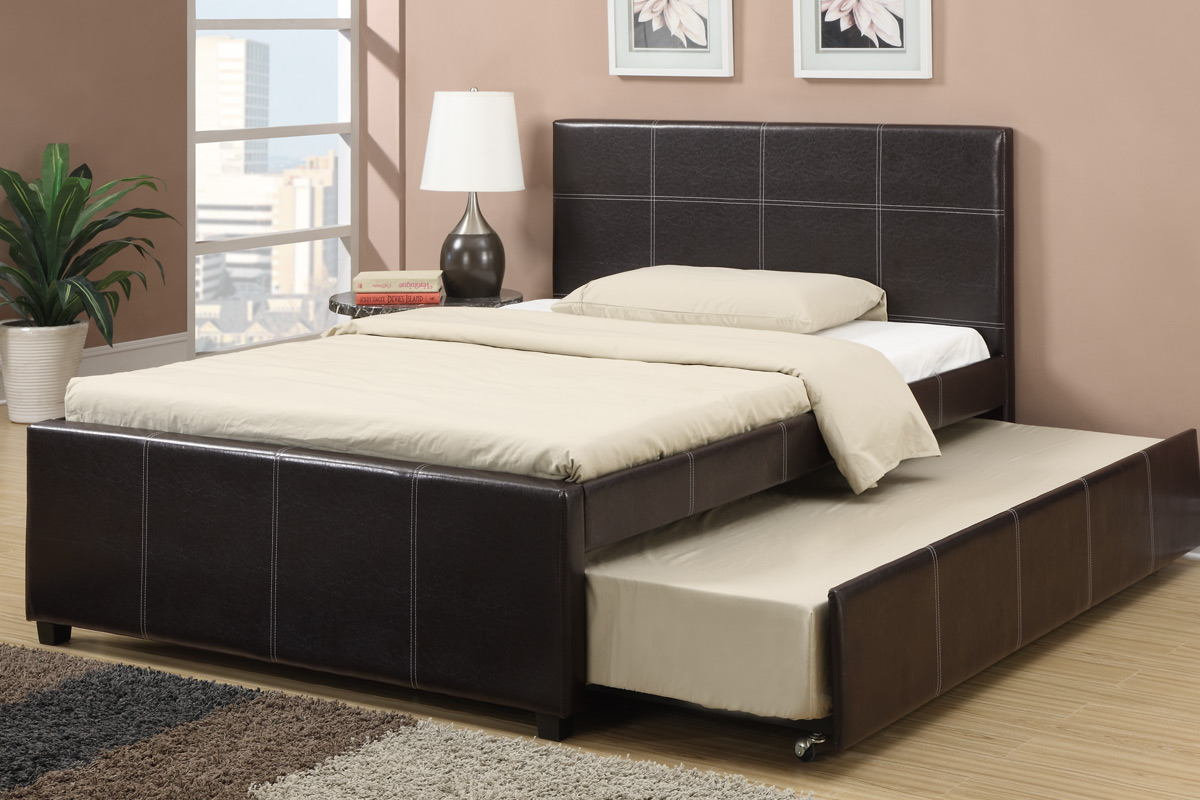 Poundex F9214F Espresso faux leather full size bed with twin size trundle bed, slat kits included