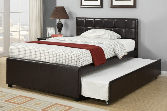 Espresso tufted faux leather full size bed with twin size trundle bed, slat kits included