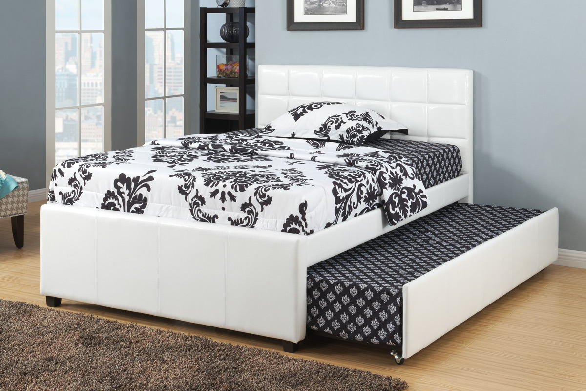 Poundex F9216F White faux leather full size bed with twin size trundle bed, slat kits included
