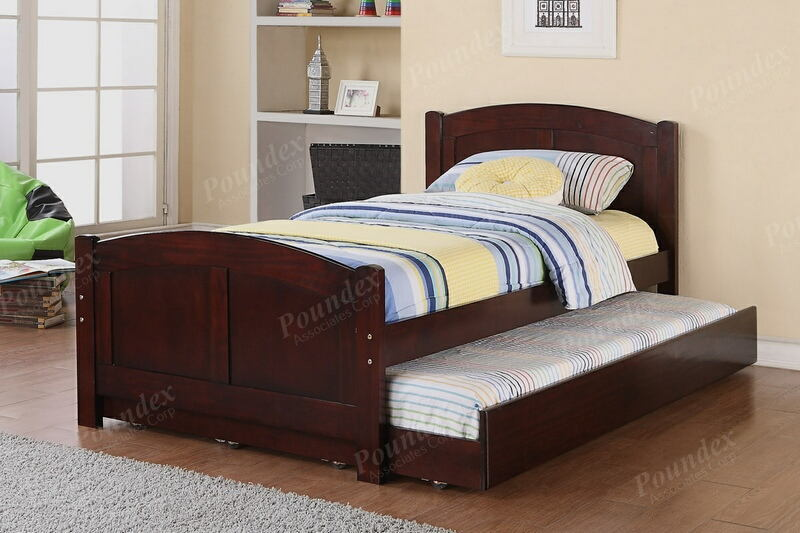 Poundex F9217 2 pc Trista cherry finish wood twin trundle bed