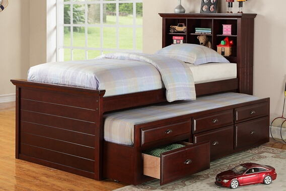 Cherry finish wood panel design twin trundle bed with bookcase headboard and drawers