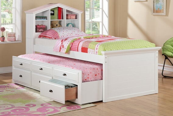 Poundex F9223 Doll house style headboard white finish wood panel design twin trundle bed bookcase headboard and drawers