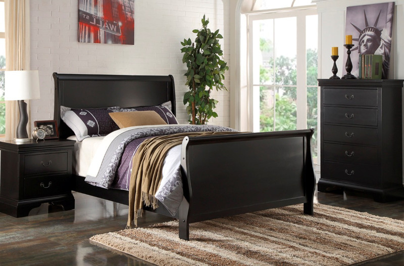 Poundex F9230T 3 pc queen anne black finish wood sleigh style twin / full bed set