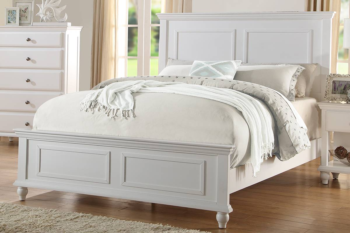 F9270Q Three posts georgette white finish wood panel queen bed set