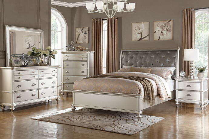 Poundex F9317Q 5 pc patricia iii silvery tone wood finish faux leather tufted headboard queen bedroom set