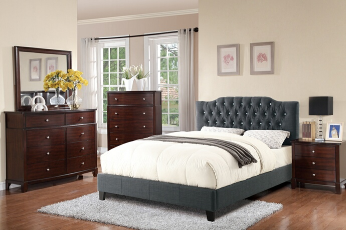 Poundex F9333Q 5 pc proctor blue grey faux linen and tufted queen bedroom set