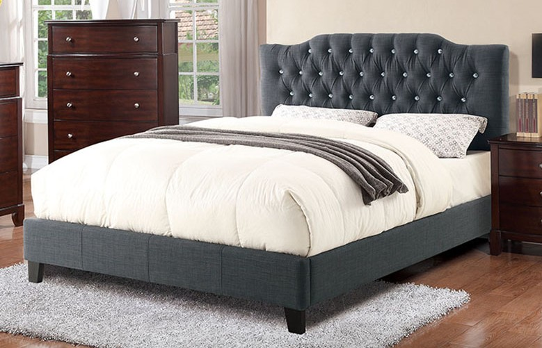 F9333Q A & J home studio norman blue grey tufted polyfiber queen bed set euro slat kit included