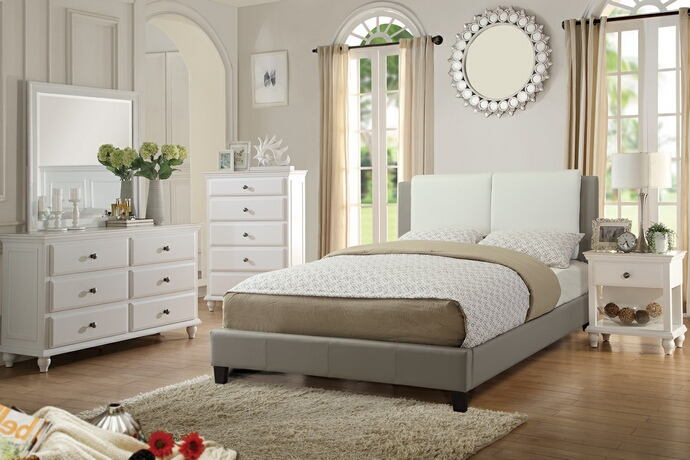 5 pc proctor collection white and grey faux leather upholstered queen bedroom set
