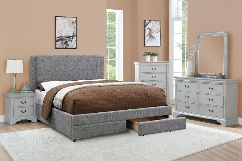 Poundex F9365Q 5 pc proctor ii stone ash polyfiber padded grey finish wood queen bedroom set