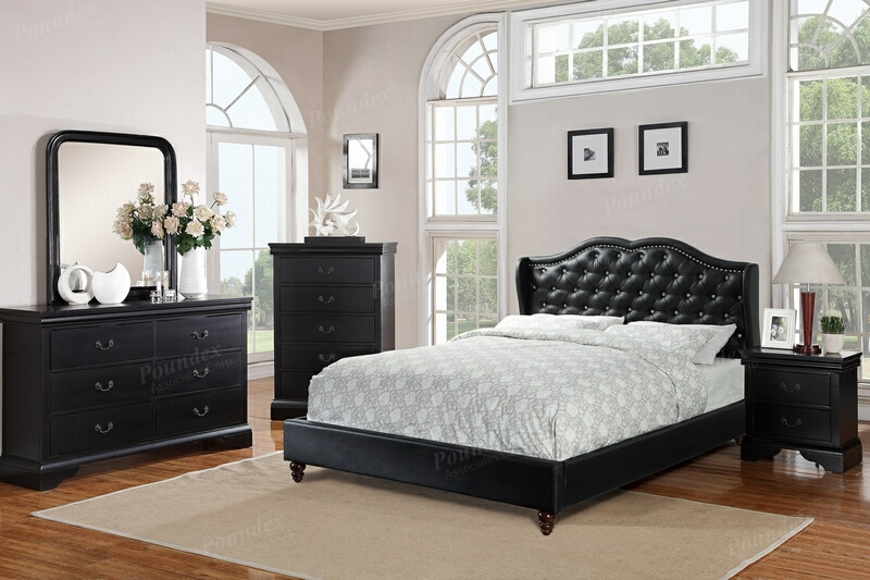 Poundex F9368Q-4725-26-27 4 pc Janelle II black faux leather tufted queen bed set
