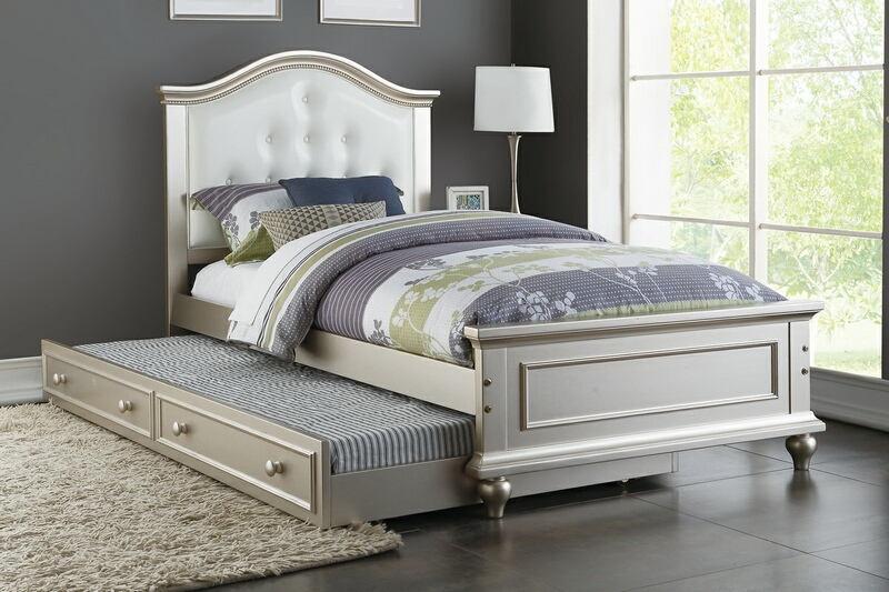 Poundex F9378 2 pc Harriett bee dasilva silver finish wood twin trundle bed white tufted headboard