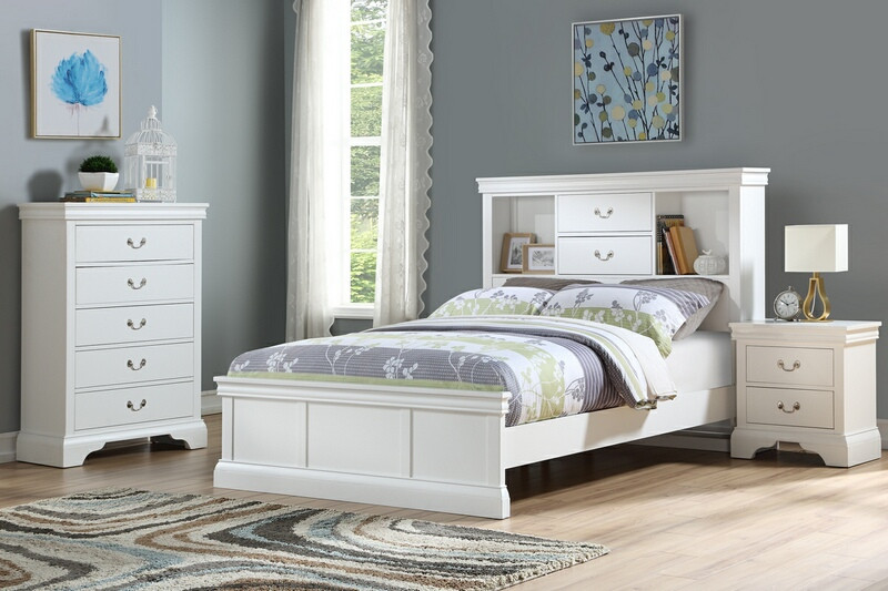 Poundex F9422T 3 pc bookcase headboard white finish wood twin / full bed set