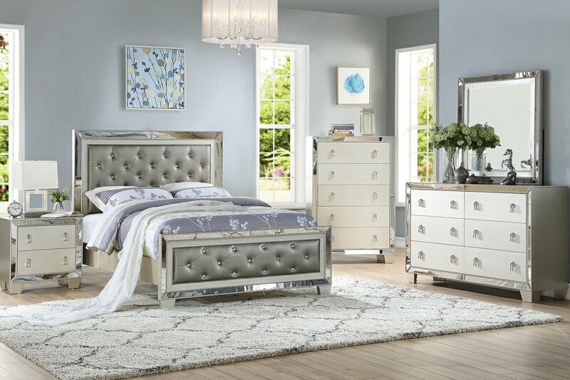 Poundex F9428Q 5 pc Marlinda II silver finish wood faux leather queen bed set mirrored accents