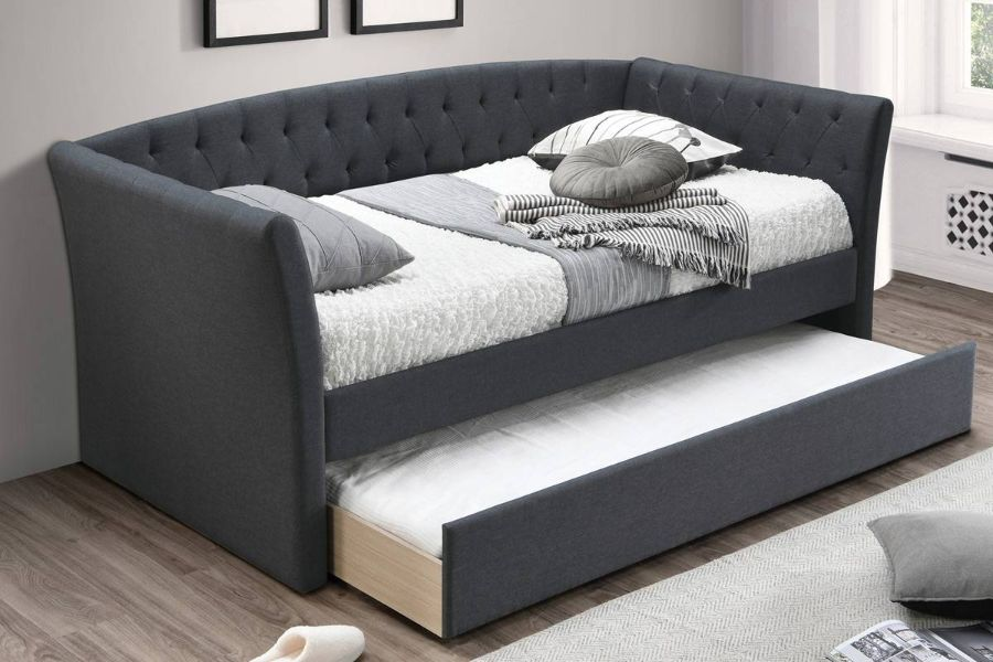 Poundex F9451 AJ homes studio huntington charcoal fabric padded twin size day bed with pull out trundle
