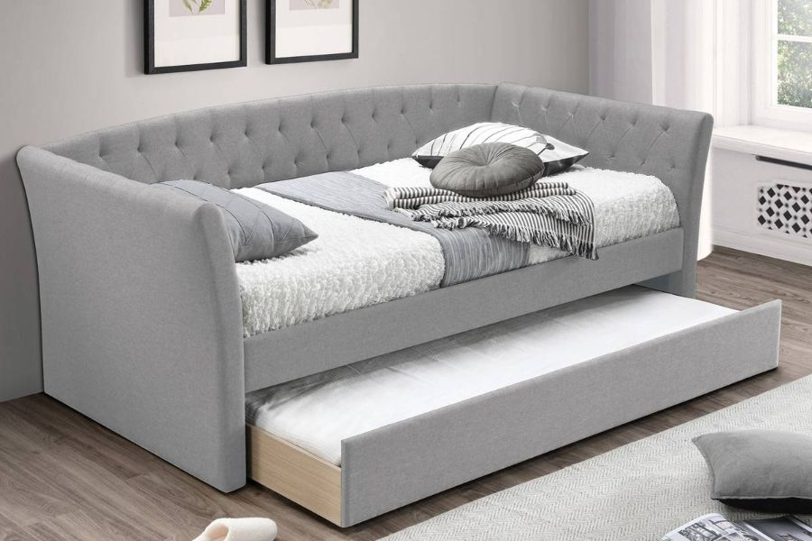 Poundex F9453 AJ homes studio huntington light grey fabric padded twin size day bed with pull out trundle