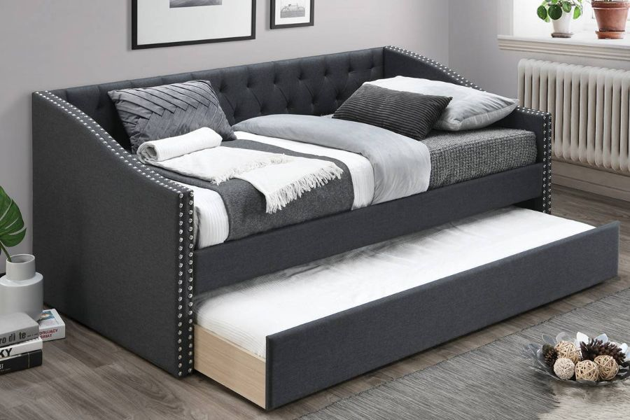 Poundex F9454 AJ homes studio huntington charcoal fabric padded twin size day bed with pull out trundle