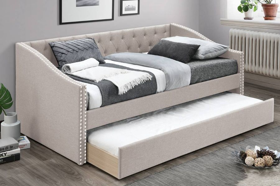 Poundex F9455 AJ homes studio huntington light brown fabric padded twin size day bed with pull out trundle