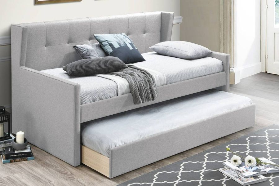 Poundex F9459 AJ homes studio huntington light grey fabric padded twin size day bed with pull out trundle
