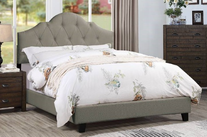 F9541Q A & J homes studio baku grey tufted polyfiber fabric queen bed set euro slat kit included