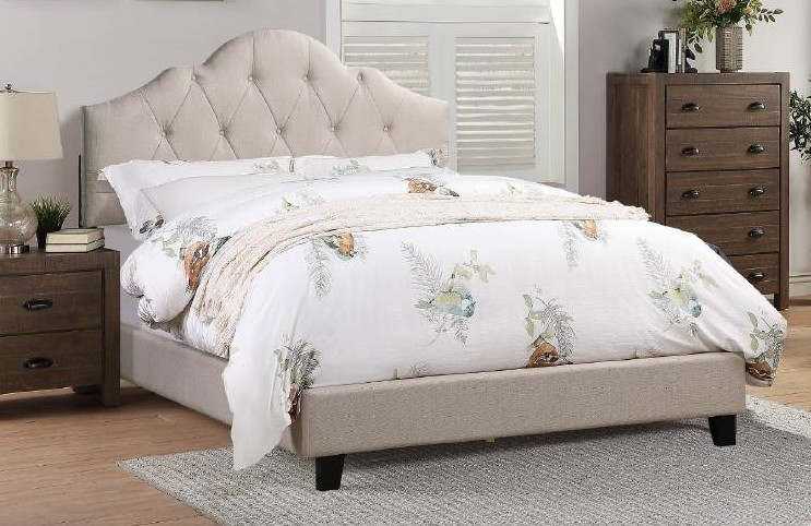 F9542Q A & J homes studio baku beige tufted polyfiber fabric queen bed set euro slat kit included