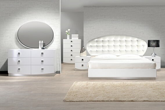Best Master FRANCE 4 pc france white lacquer finish wood modern style queen bed set