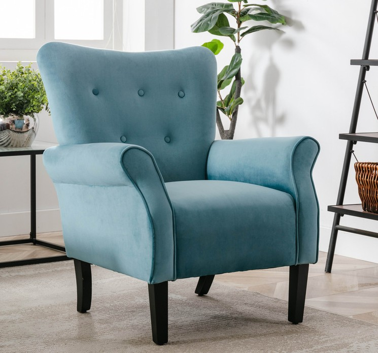 Homelegance HM1177BU Red barrel studio karrell mid century modern blue fabric accent wing back chair