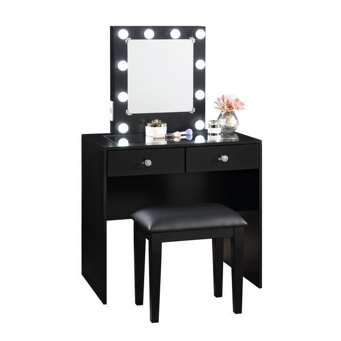 Homelegance HM7878BK-15 3 pc Bevelle black finish wood bedroom make up vanity set LED light mirror