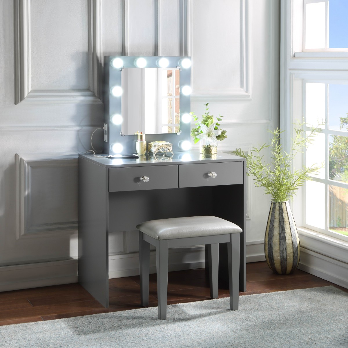 Homelegance HM7878GY-15 3 pc Bevelle gray finish wood bedroom make up vanity set LED light mirror