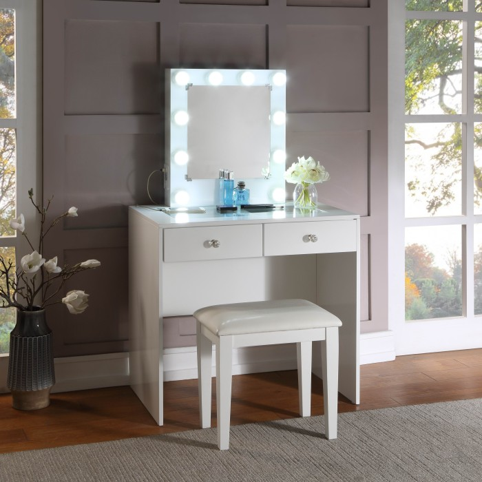 Homelegance HM7878WH-15 3 pc Bevelle white finish wood bedroom make up vanity set LED light mirror