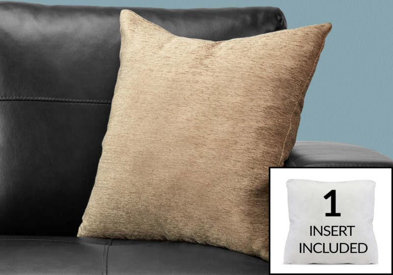 """PILLOW - 18""""X 18"""" / SOLID TAN / 1PC"""