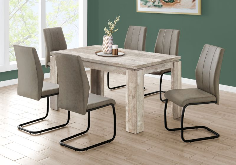 """Dining Table - 36""""X 60"""" / Taupe Reclaimed Wood-Look"""