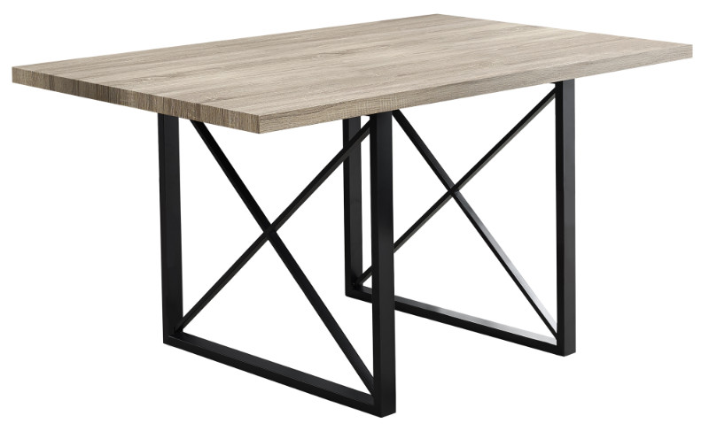 "Dining Table - 36""X 60"" / Dark Taupe / Black Metal"
