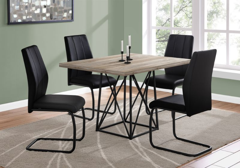 """Dining Table - 36""""X 48"""" / Taupe Reclaimed Wood-Look/Black"""