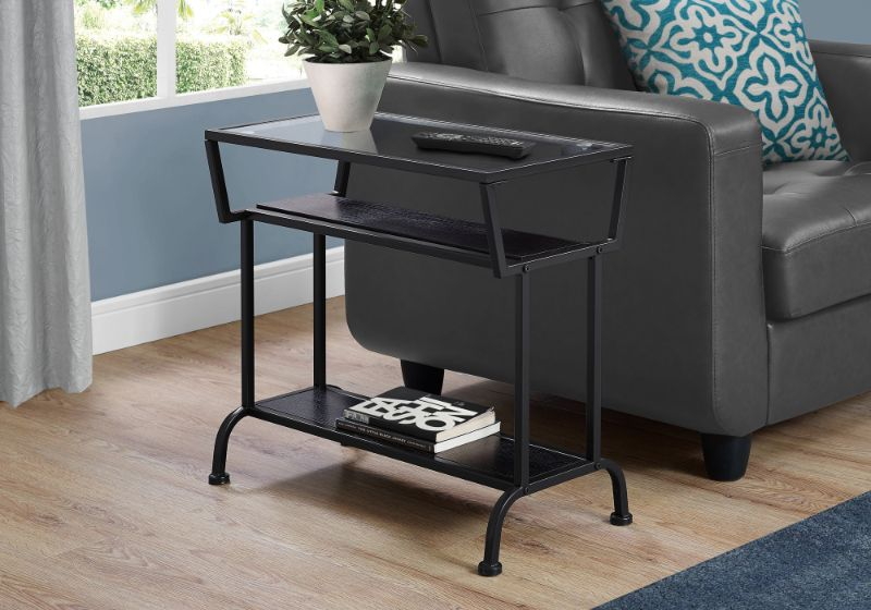 """Accent Table - 22""""H / Cappuccino / Black / Tempered Glass"""
