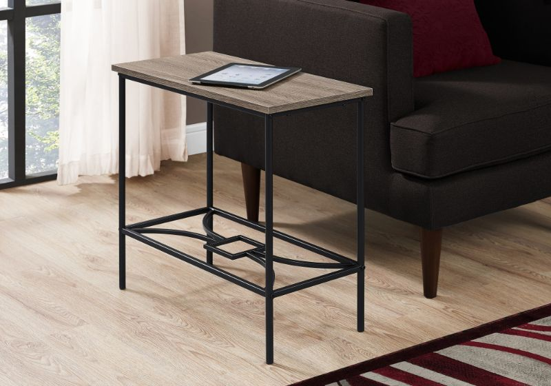 Incredible Accent Table 22H Dark Taupe Black Metal Short Links Chair Design For Home Short Linksinfo