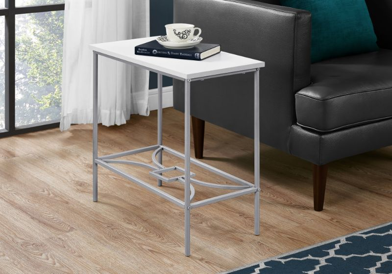 """ACCENT TABLE - 22""""H / WHITE / SILVER METAL"""
