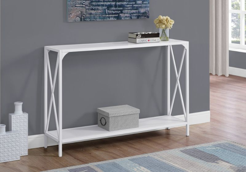 """Accent Table - 48""""L / White / White Metal Hall Console"""