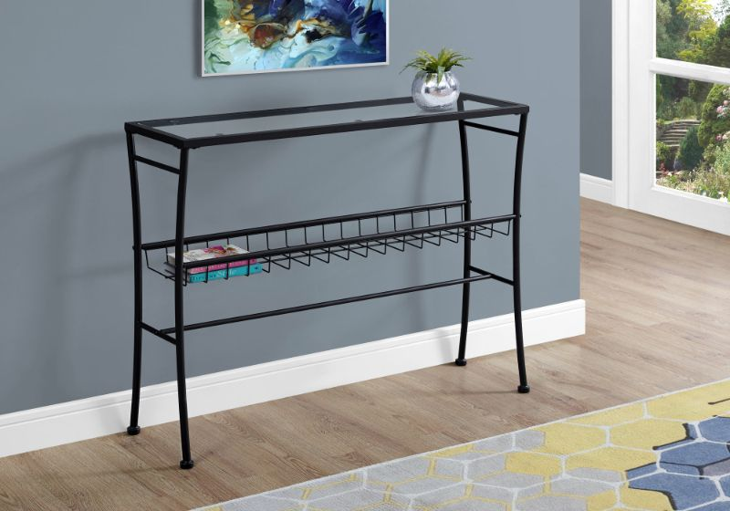 """Accent Table - 42""""L / Black / Tempered Glass Hall Console"""