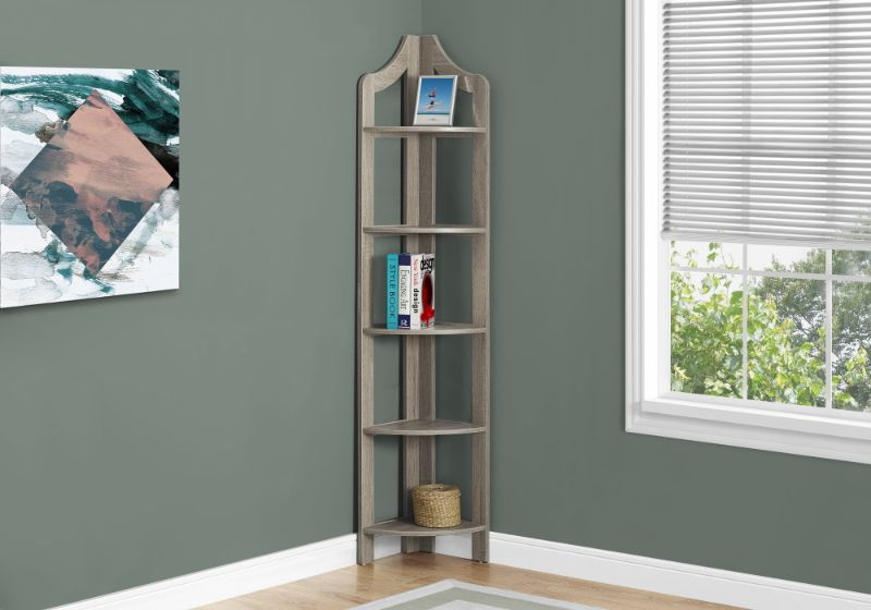 "Bookcase - 72""H / Dark Taupe Corner Accent Etagere"