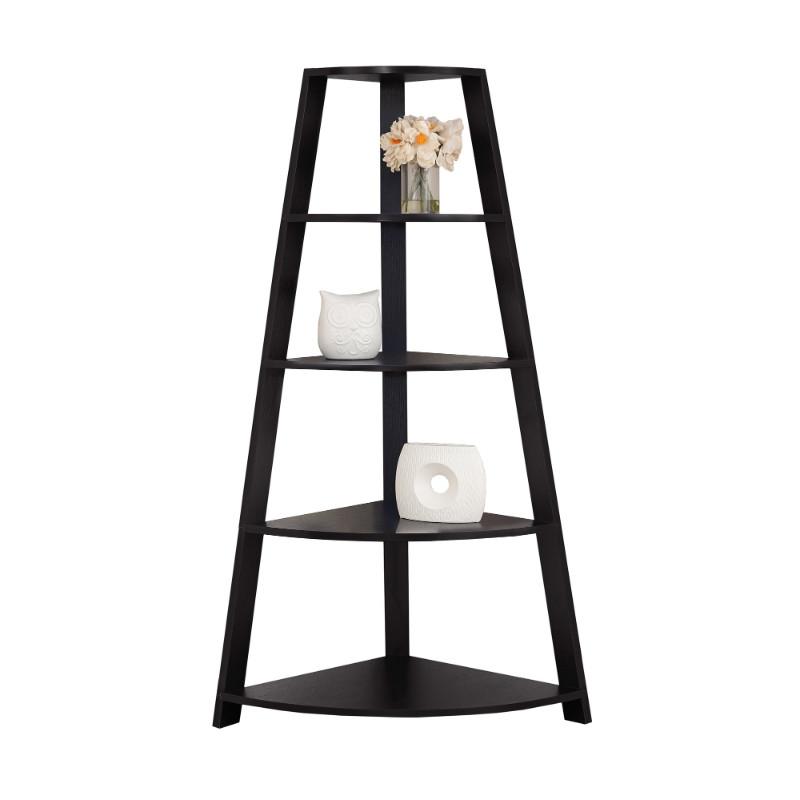 """Bookcase - 60""""H / Cappuccino Corner Accent Etagere"""