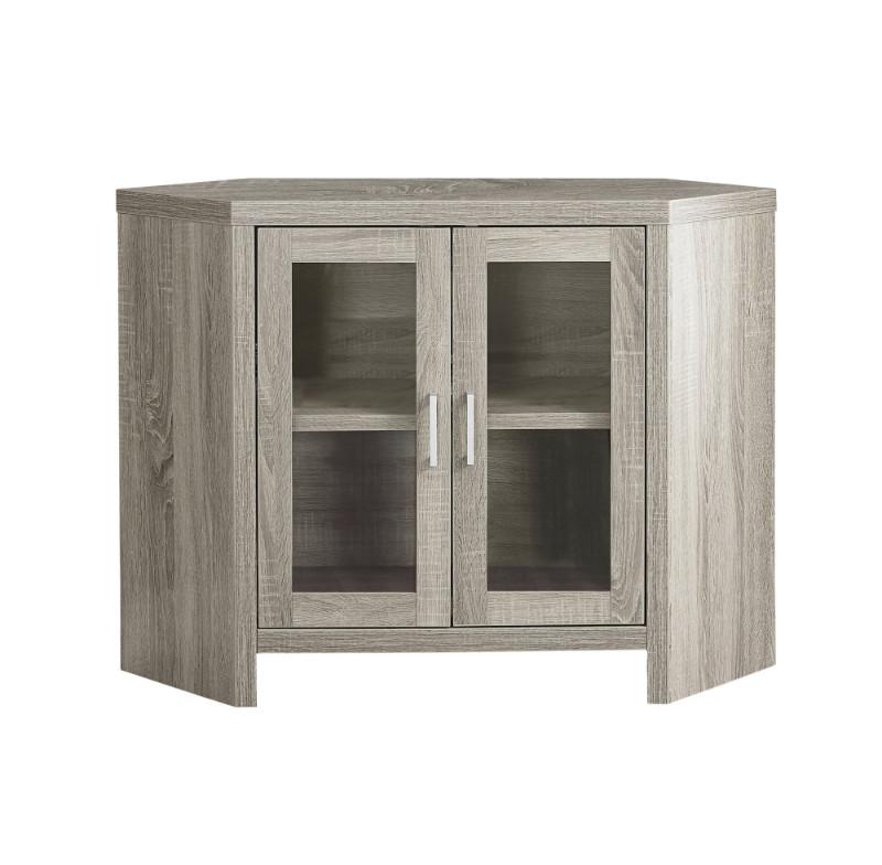 "Tv Stand - 42""L / Dark Taupe Corner With Glass Doors"