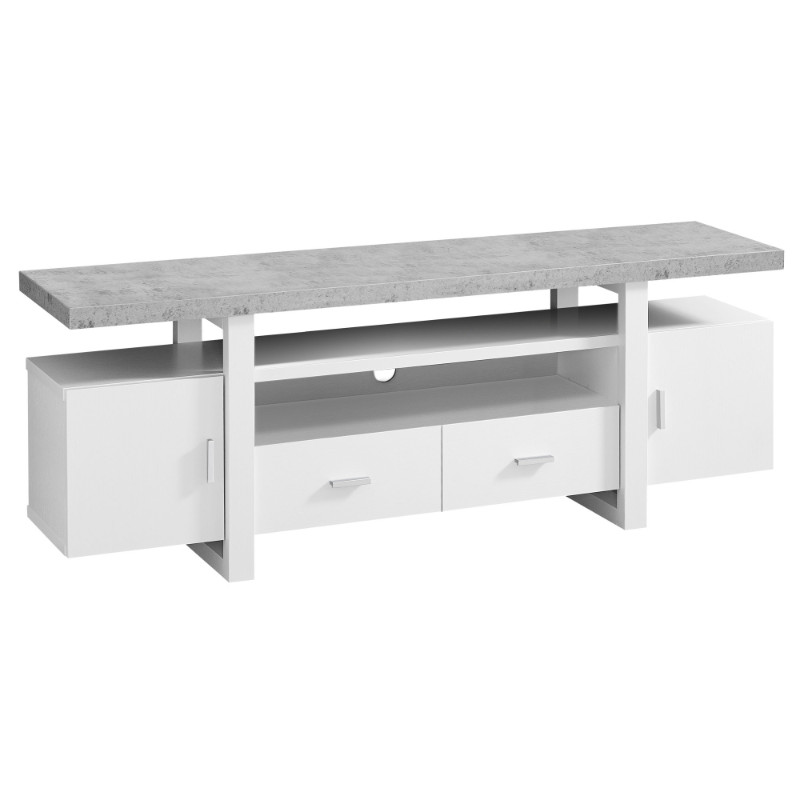 "TV STAND - 60""L WHITE CEMENT-LOOK TOP"